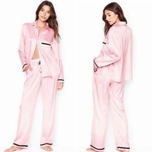 Victoria's Secret Satin PJ Set Pink Stripes Large